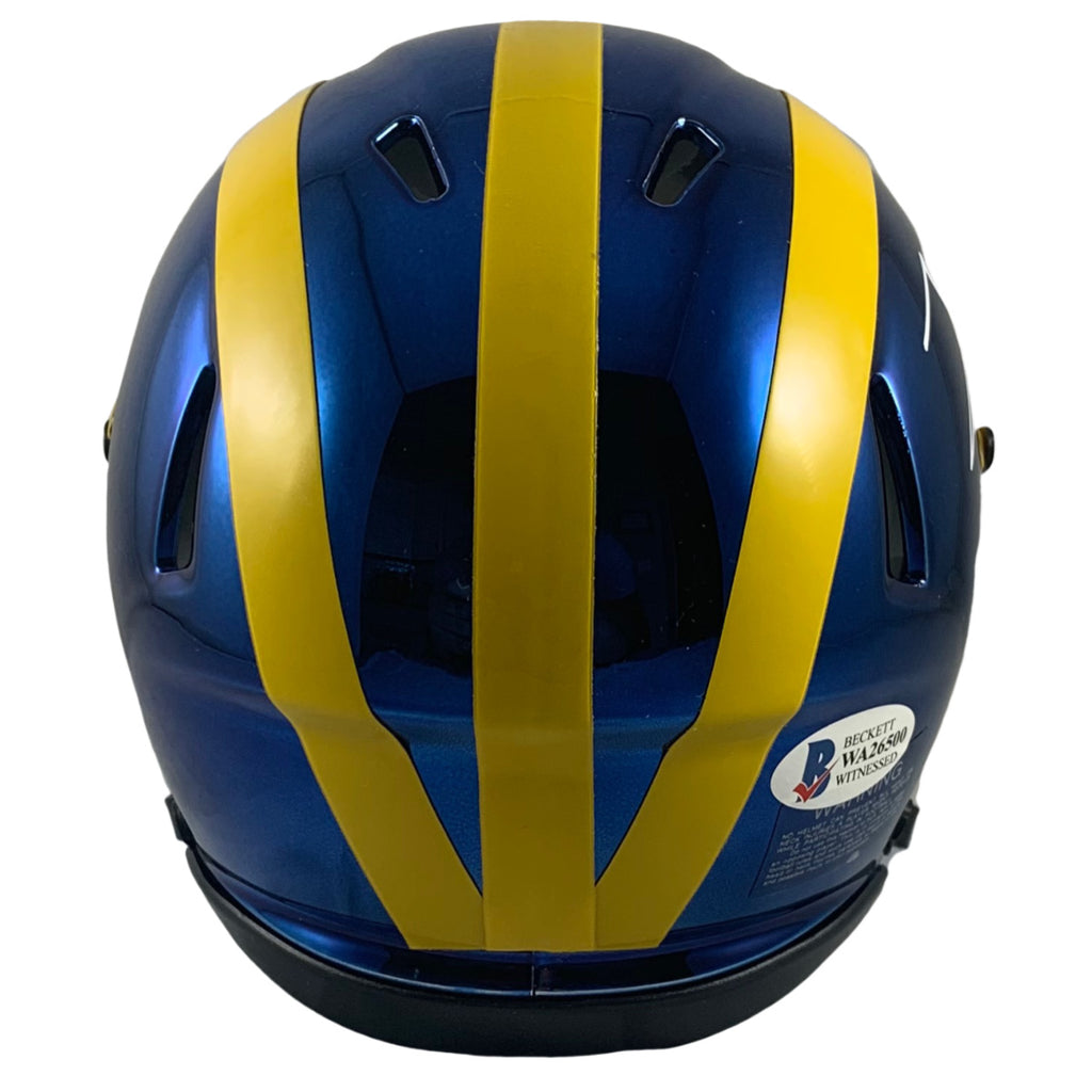 Frank Clark autographed signed chrome mini helmet Michigan Wolverines Beckett