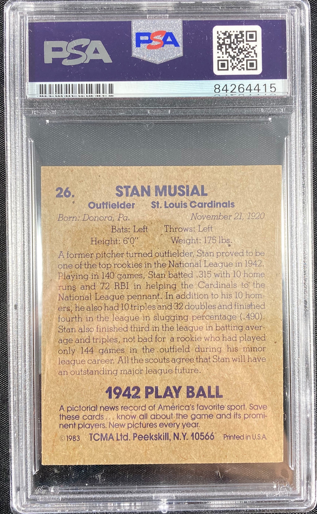Stan Musial auto card TCMA #26 1980 St. Louis Cardinals PSA Encapsulated - JAG Sports Marketing