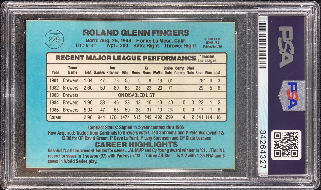 Rollie Fingers auto card 1985 Donruss #229 Milwaukee Brewers PSA Encapsulated - JAG Sports Marketing