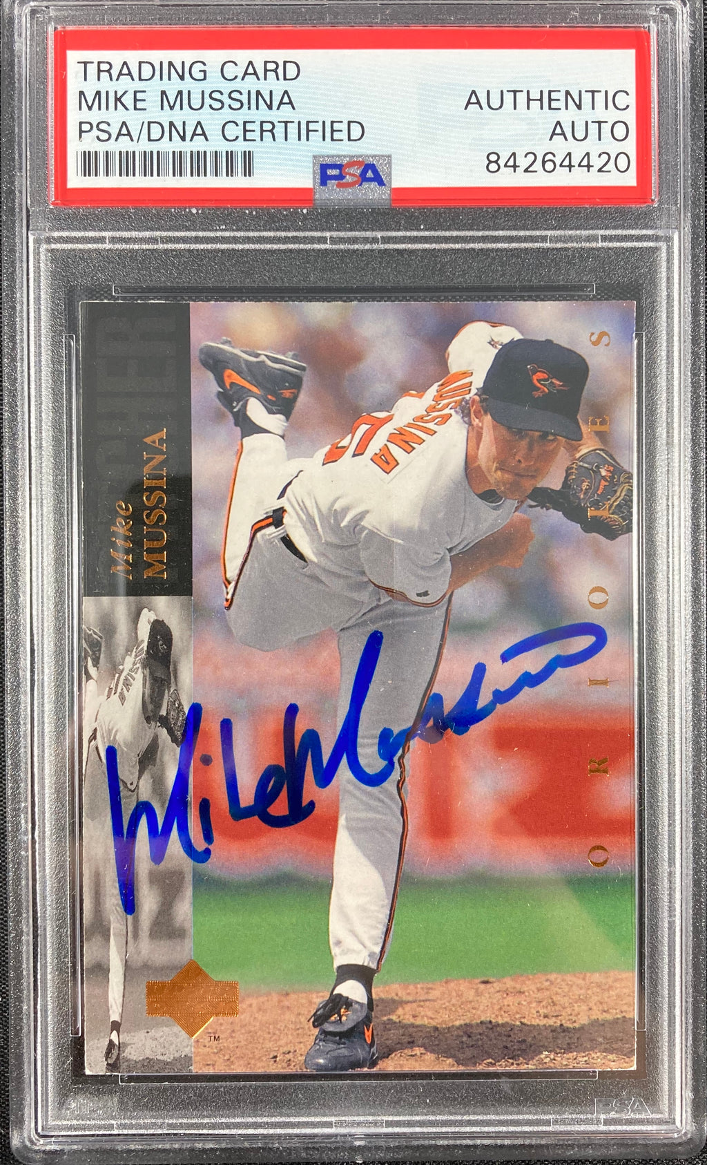 Mike Mussina auto card 1994 Upper Deck #102 Baltimore Orioles PSA Encapsulated - JAG Sports Marketing