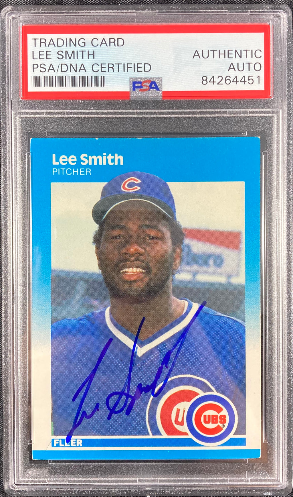 Lee Smith auto signed card 1987 Fleer #574 Lee Smith PSA Encapsulated Cubs - JAG Sports Marketing