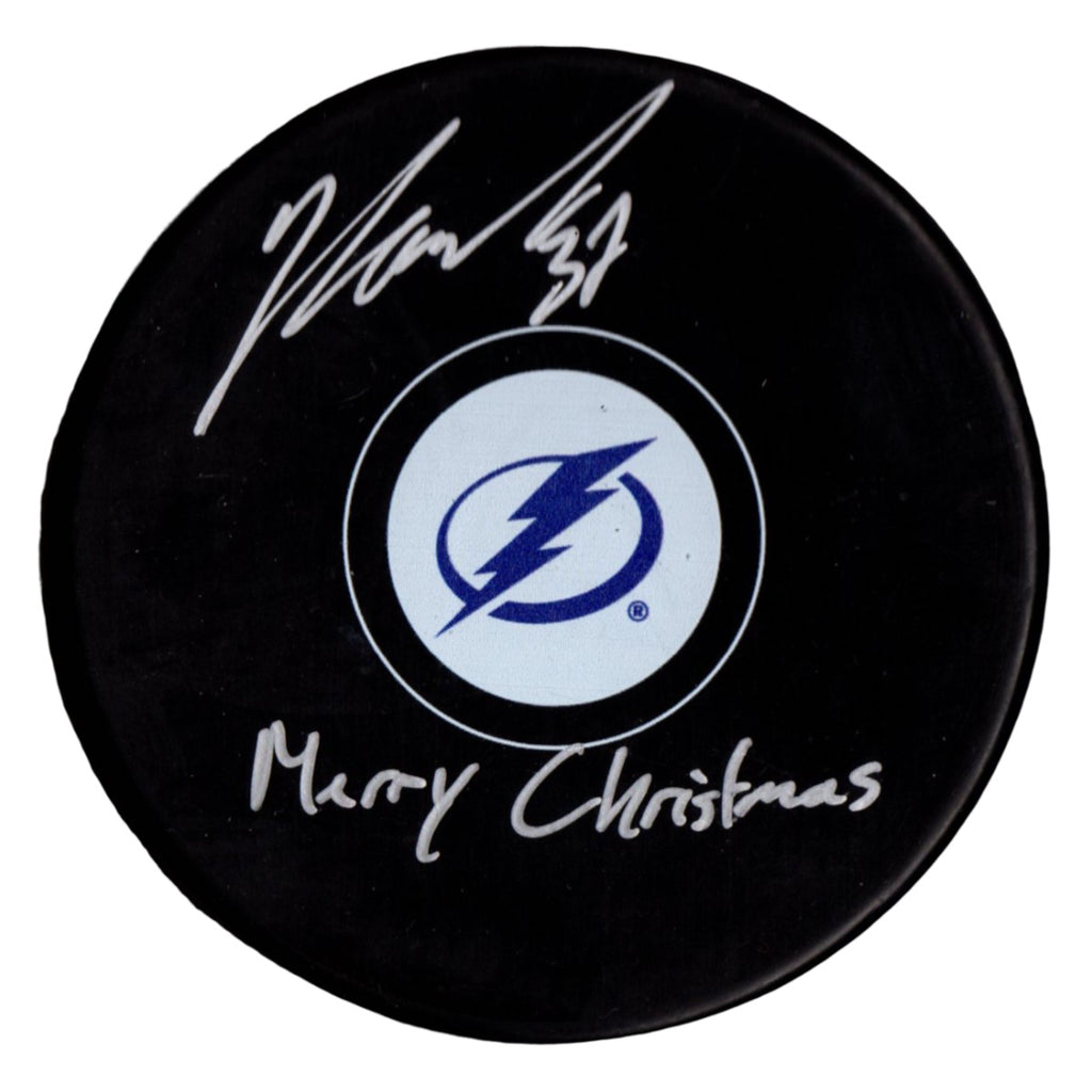 Yanni Gourde autographed signed inscribed puck NHL Tampa Bay Lightning PSA COA