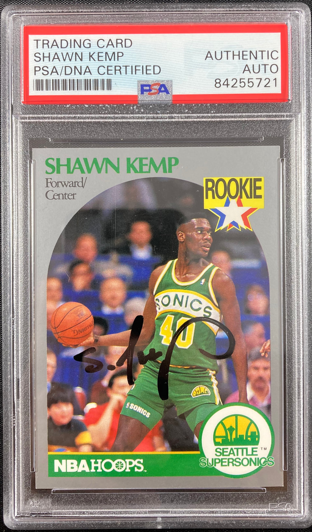 Shawn Kemp auto signed rookie card NBA Seattle Supersonics PSA Encapsulated - JAG Sports Marketing