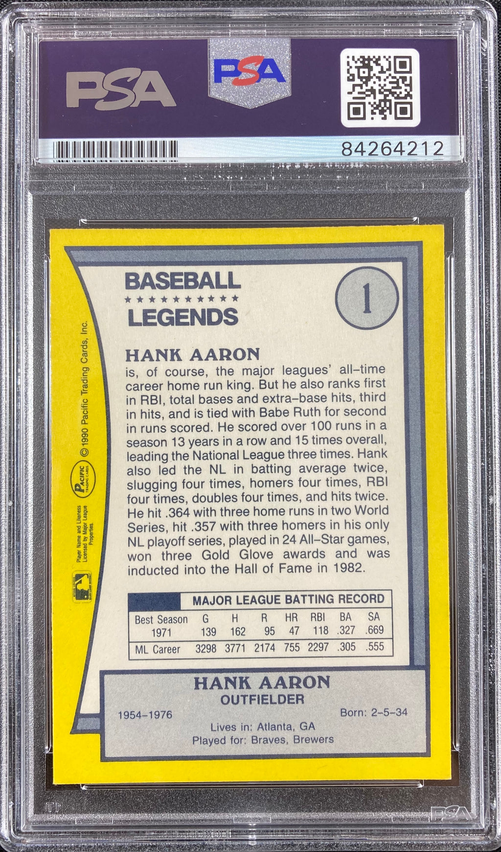 Hank Aaron auto signed card Pacific #1 1990 Atlanta Braves PSA Encapsulated - JAG Sports Marketing