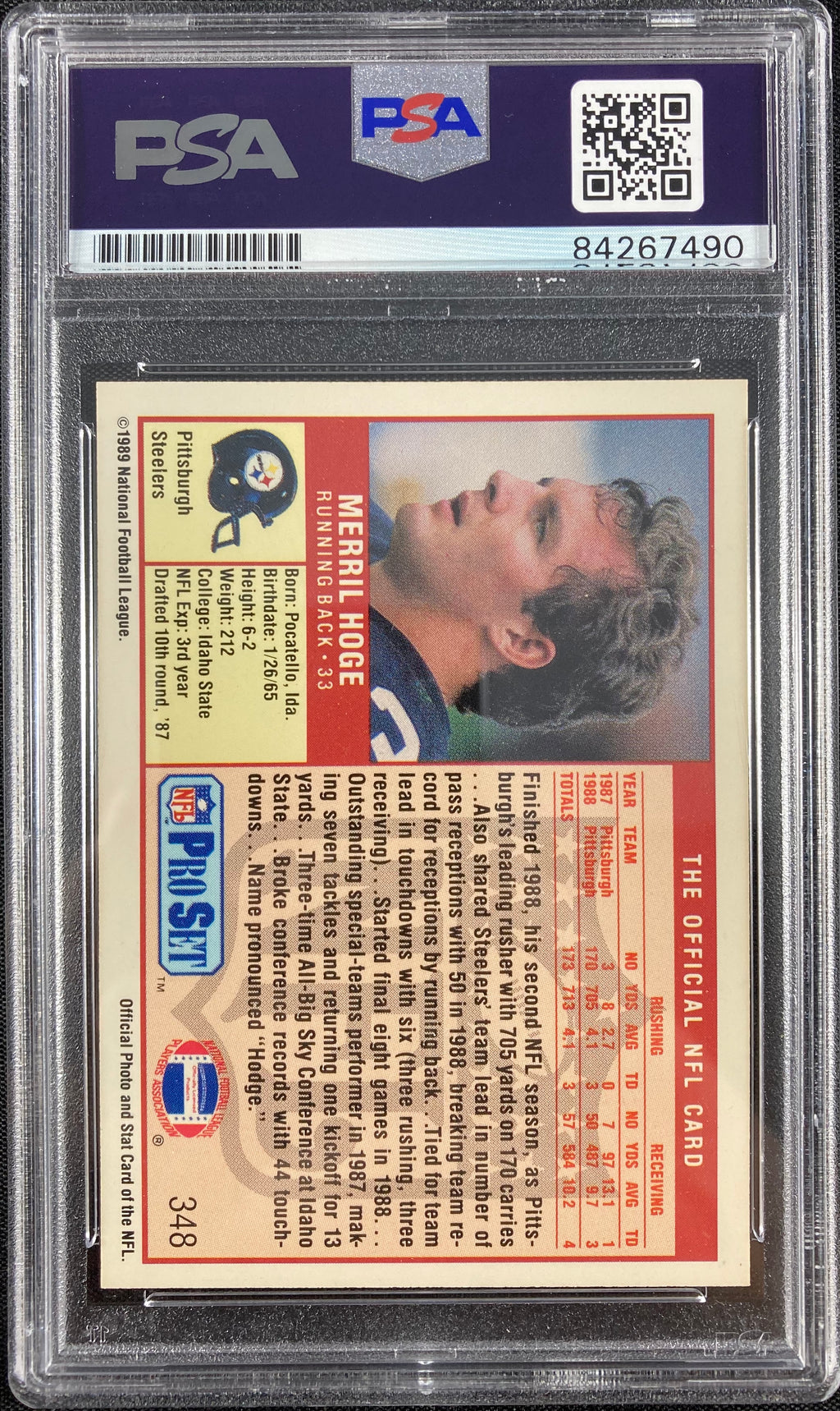 Merril Hoge auto signed card NFL '89 #348 Pittsburgh Steelers PSA Encapsulated - JAG Sports Marketing
