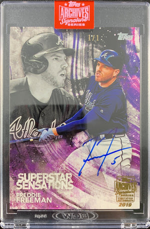 Freddie Freeman autographed signed on Card 1/1 Atlanta Braves Topps Archives - JAG Sports Marketing