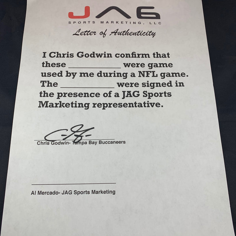 Chris Godwin autographed signed Game Used Gloves NFL Tampa Bay Buccaneers LOA - JAG Sports Marketing