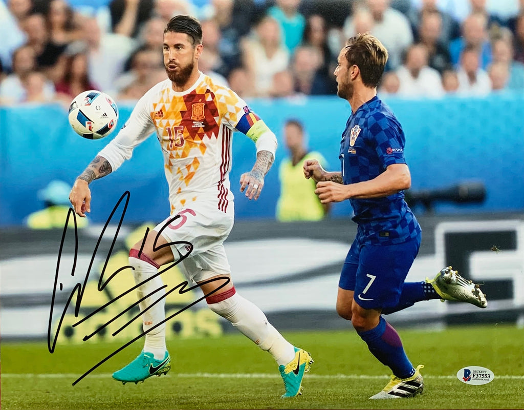 Sergio Ramos autographed signed 11x14 Spain National Team Beckett COA