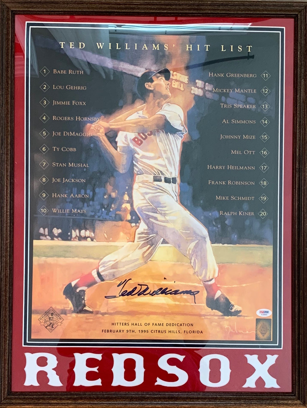 Ted Williams autographed signed 16x20 framed MLB Boston Red Sox PSA COA