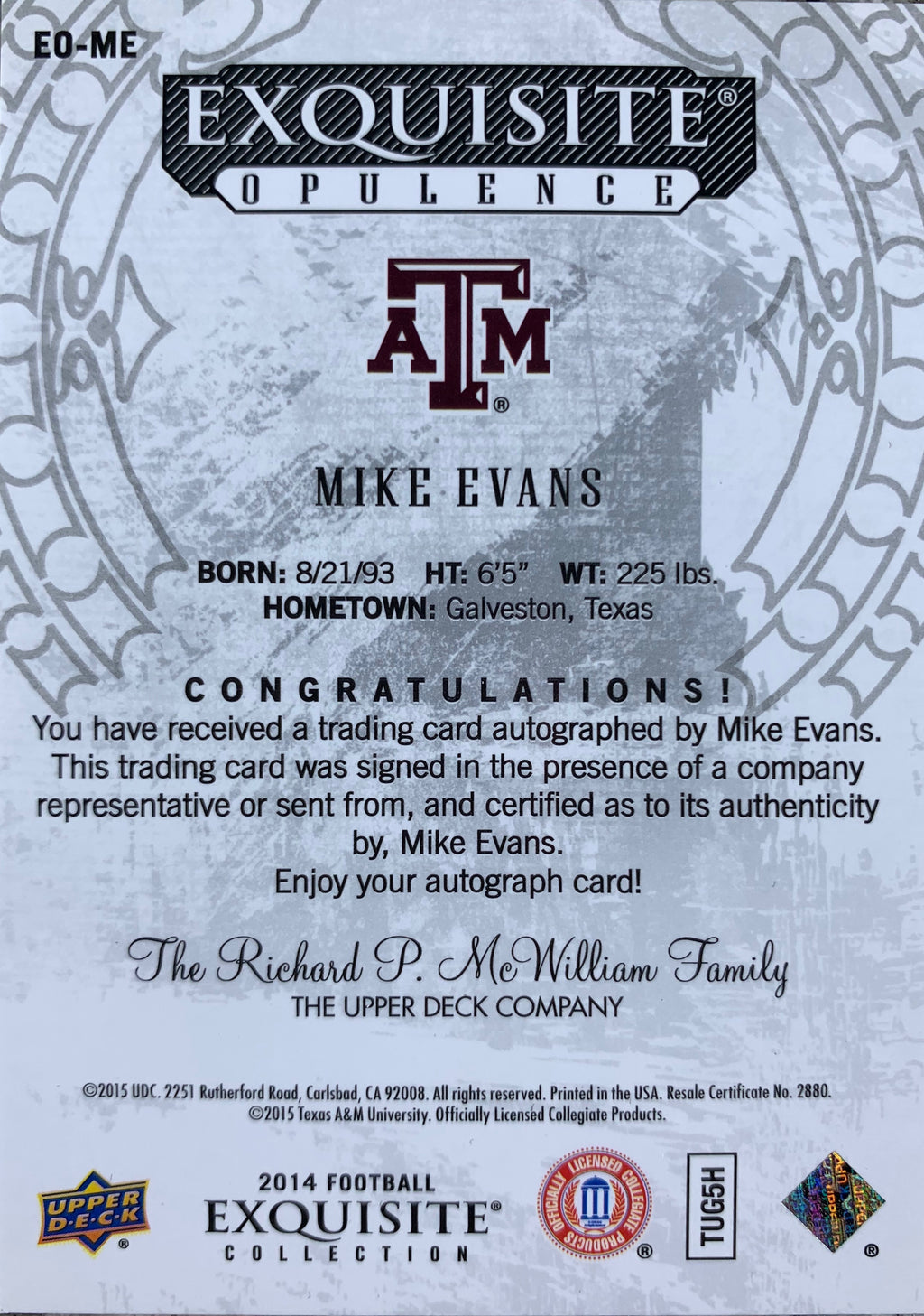 Mike Evans autographed signed Card 2 of 5 Texas A&M Upper Deck Exquisite