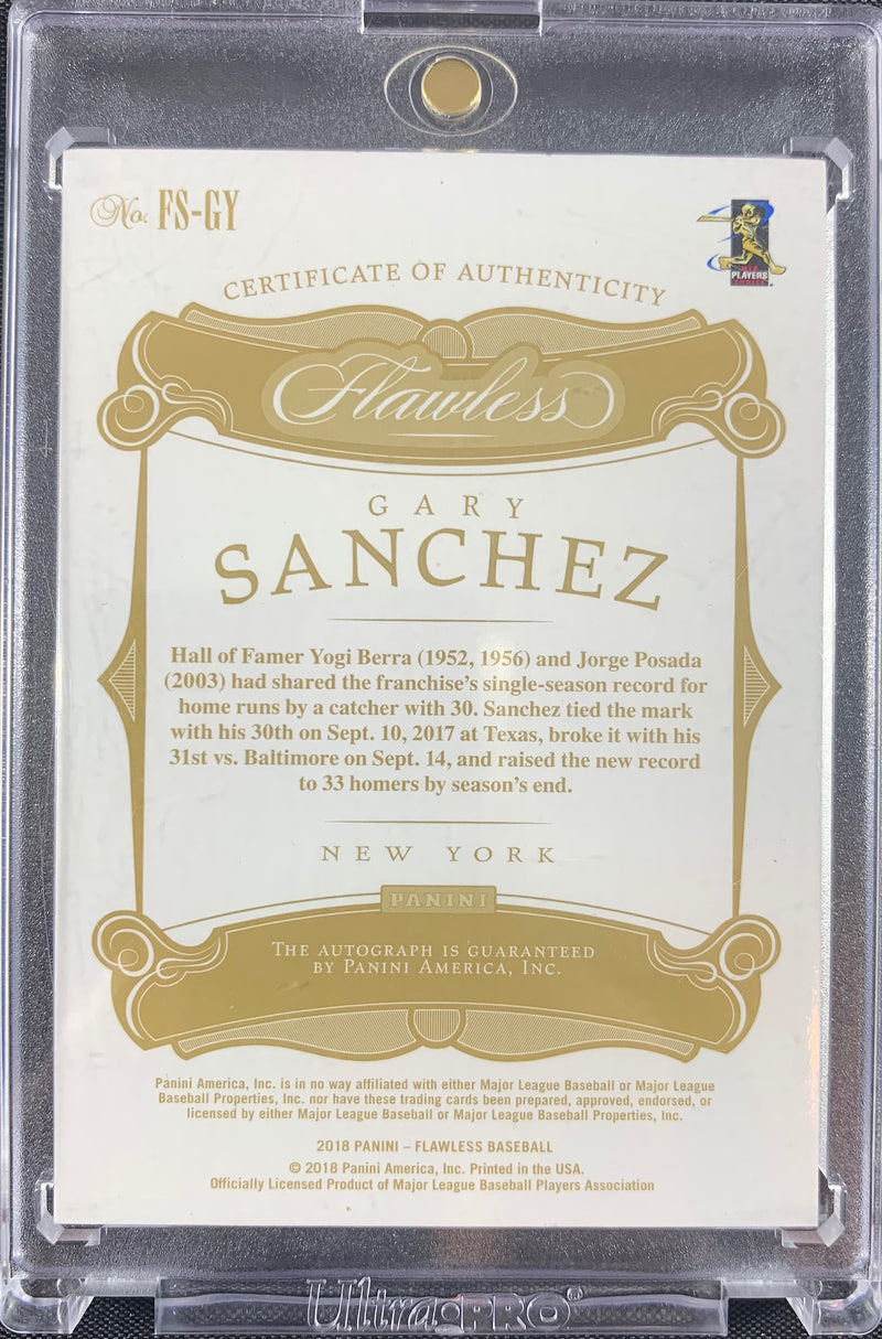 Gary Sanchez autographed signed Card 1/1 New York Yankees 2018 Panini Flawless - JAG Sports Marketing