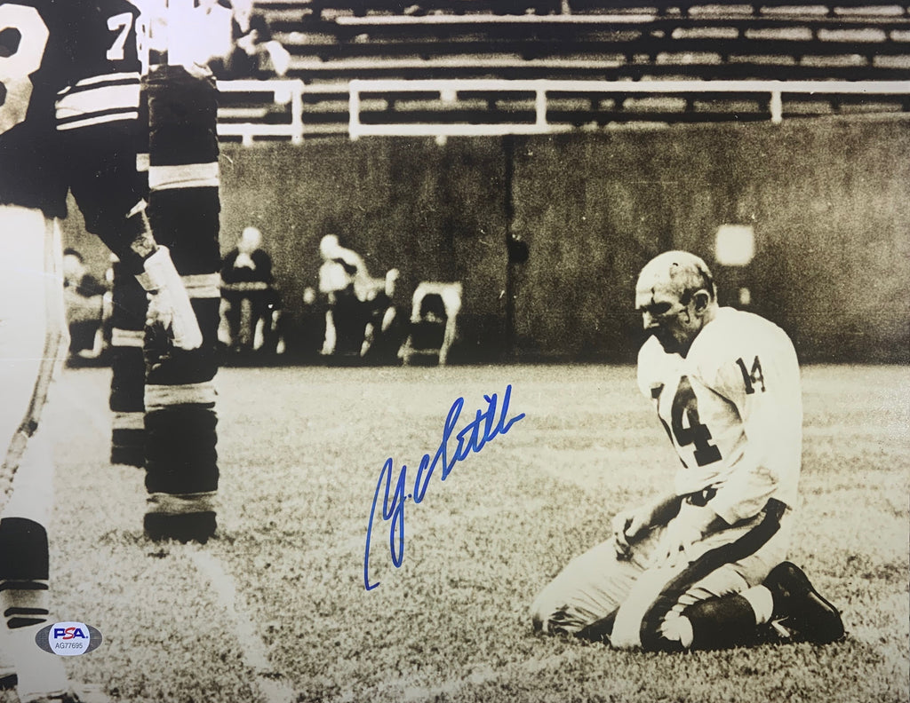 YA Tittle autographed signed 11x14 photo NFL New York Giants PSA COA HOF