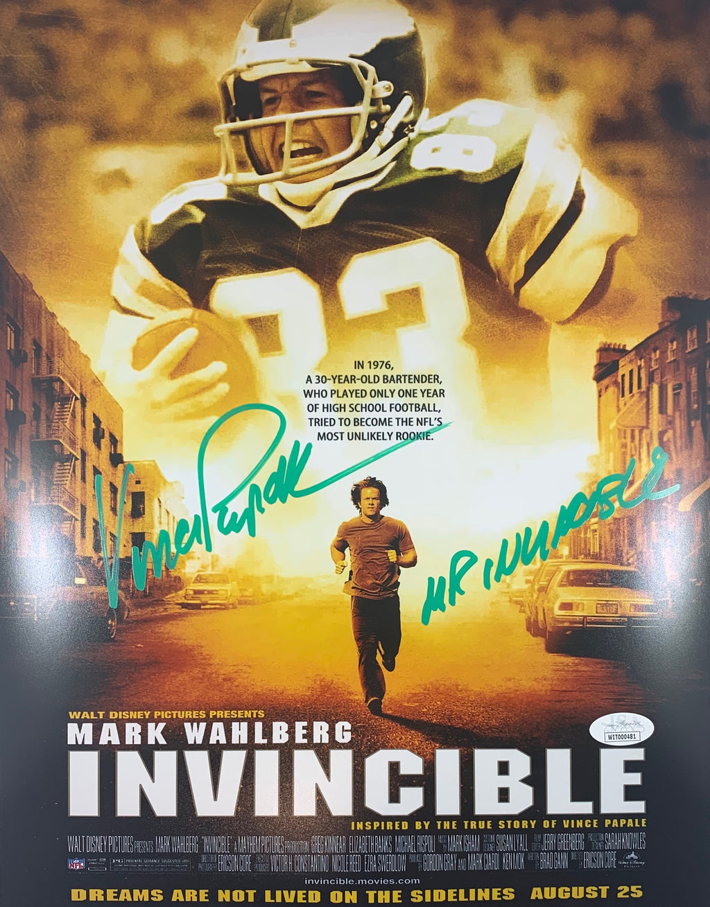 Vince Papale autographed signed inscribed 11x14 NFL Philadelphia Eagles JSA COA - JAG Sports Marketing