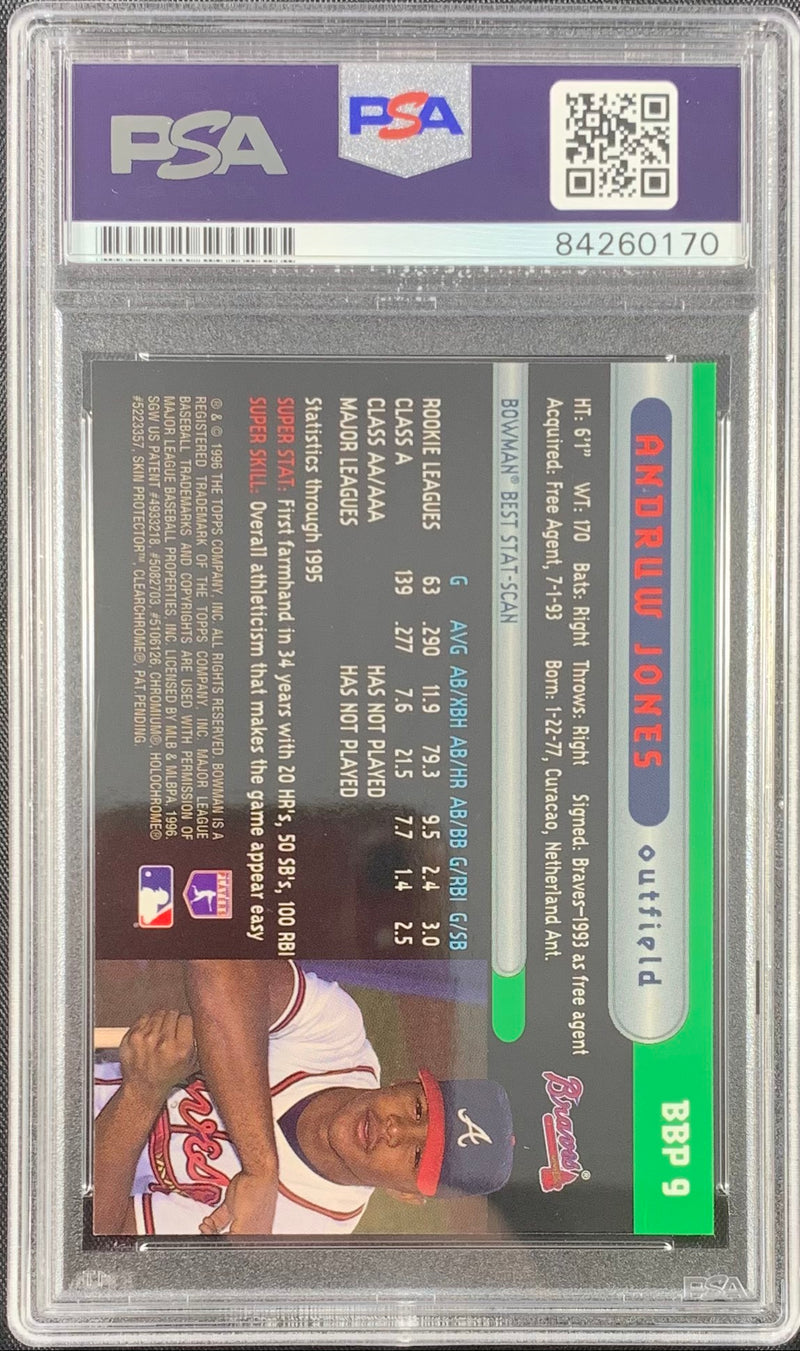 Andruw Jones signed rookie card Bowmans Best Atlanta Braves PSA Encapsulated - JAG Sports Marketing