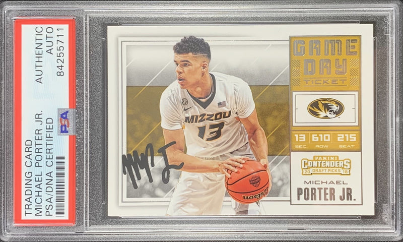 Michael Porter Jr. signed RC Panini Contenders Mizzou Tigers PSA Encapsulated - JAG Sports Marketing