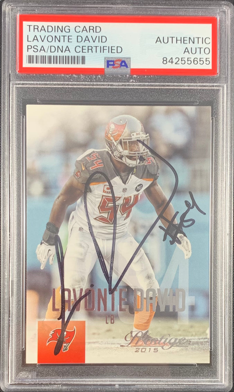Lavonte David autograph signed Panini card Tampa Bay Buccaneers PSA Encapsulated - JAG Sports Marketing