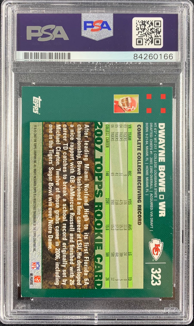 Dwayne Bowe auto Rookie Card Topps #323 Kansas City Chiefs PSA Encapsulated - JAG Sports Marketing