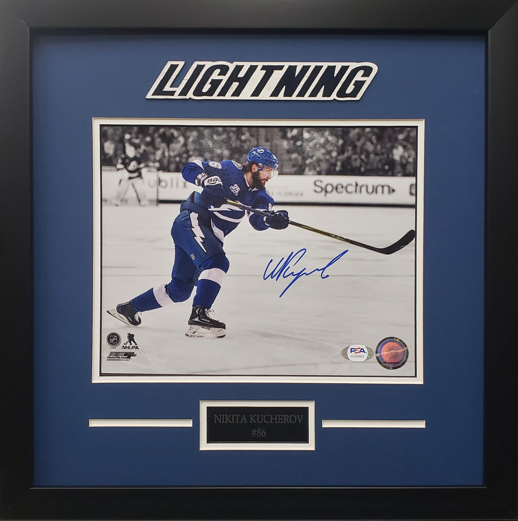 Nikita Kucherov signed 8x10 photo framed NHL Tampa Bay Lightning PSA COA - JAG Sports Marketing