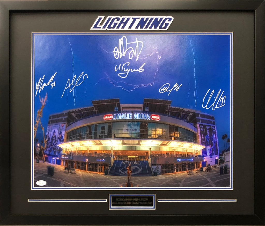 Tampa Bay Lightning Autograph 16x20 photo framed JSA Kucherov Hedman Vasilevskiy - JAG Sports Marketing