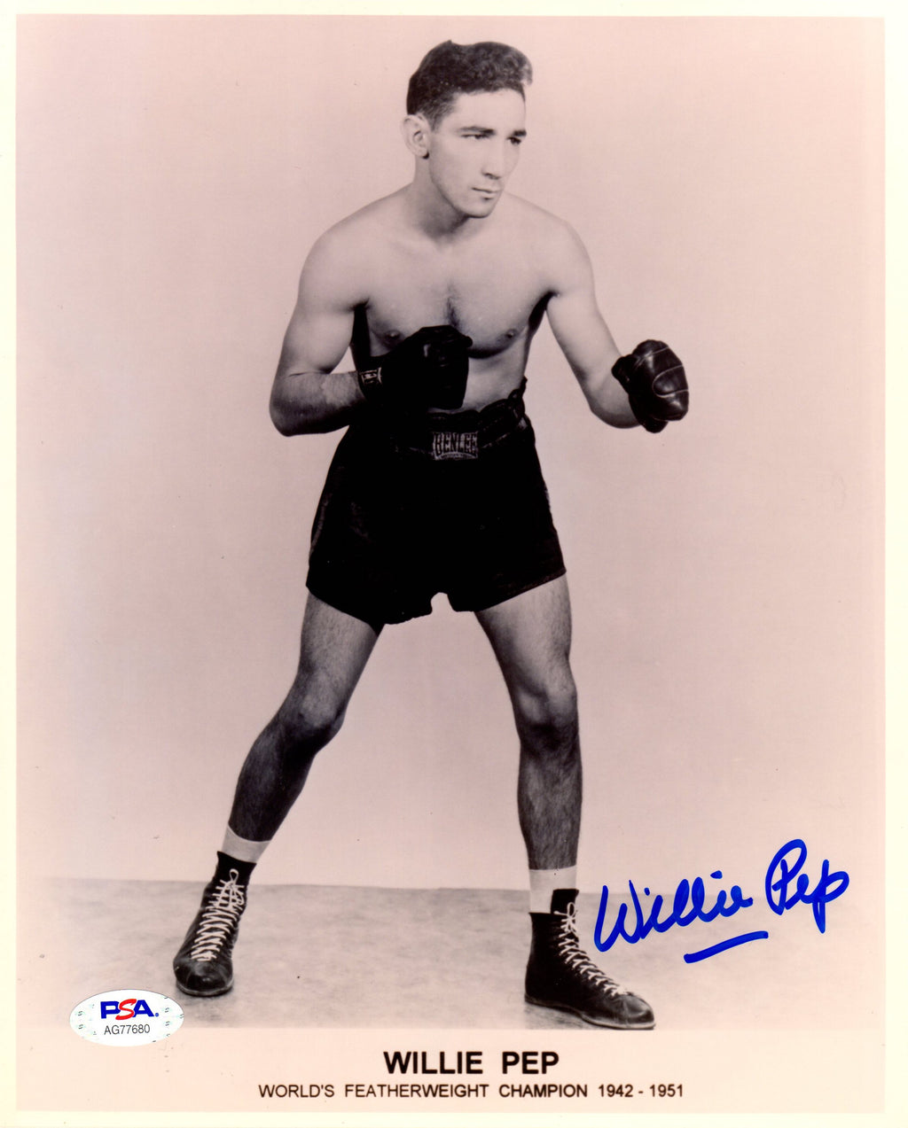 Willie Pep autographed signed 8x10 photo Boxing PSA COA Featherweight Champion - JAG Sports Marketing