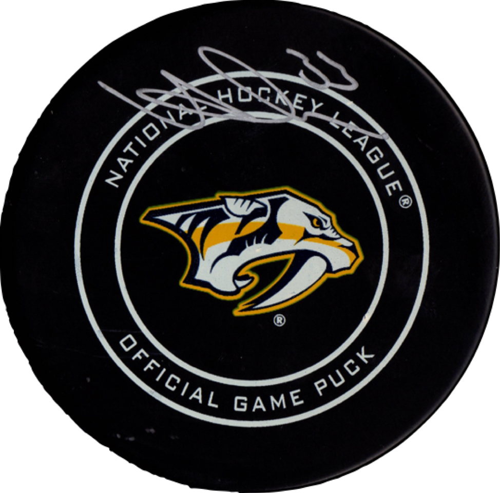 Viktor Arvidsson autographed signed authentic puck NHL Nashville Predators PSA