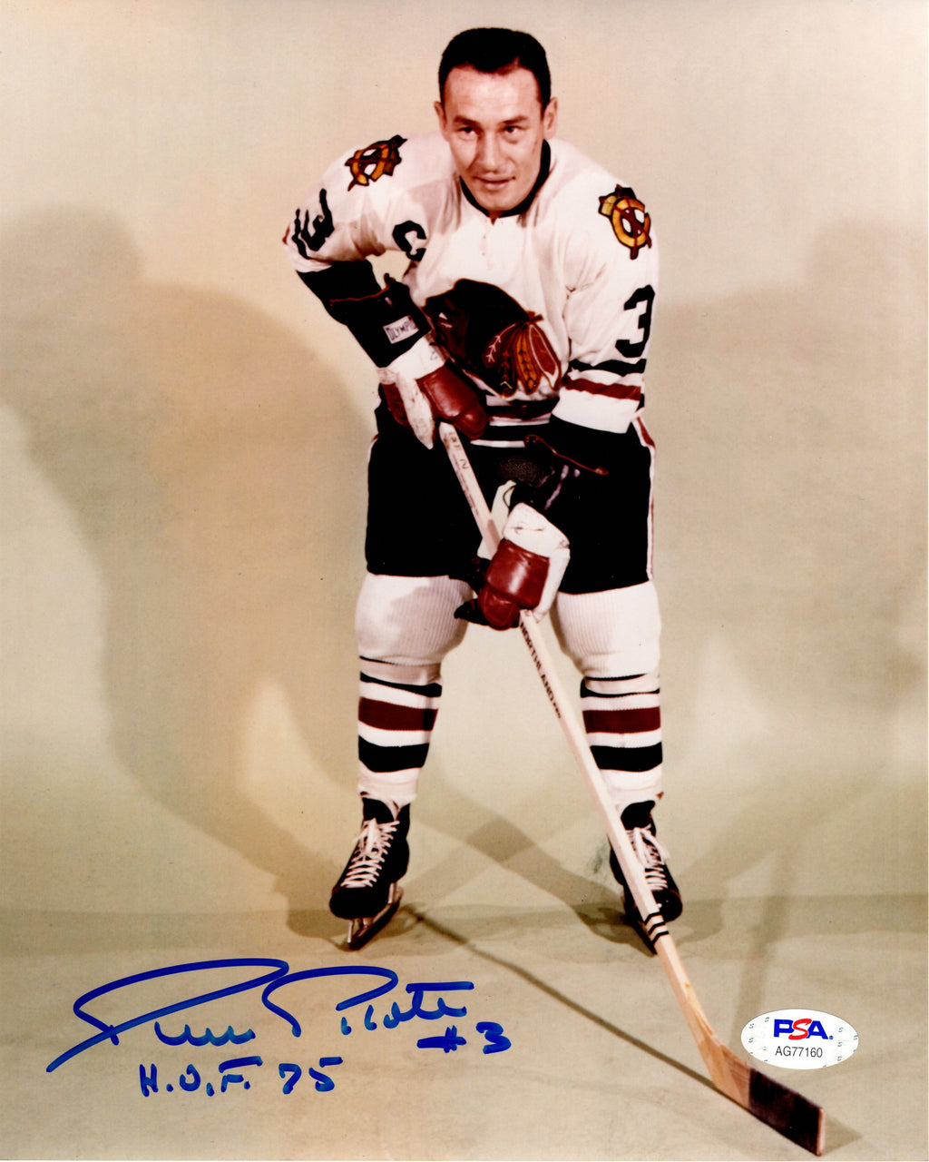 Pierre Pilote autographed signed inscribed 8x10 photo NHL Chicago Black Hawks PSA COA HOF