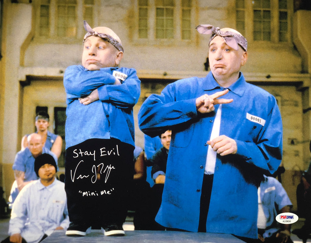 "Verne Troyer Autographed Inscribed ""mini me"" 11x14 Austin Powers Movie Scene PSA - JAG Sports Marketing"