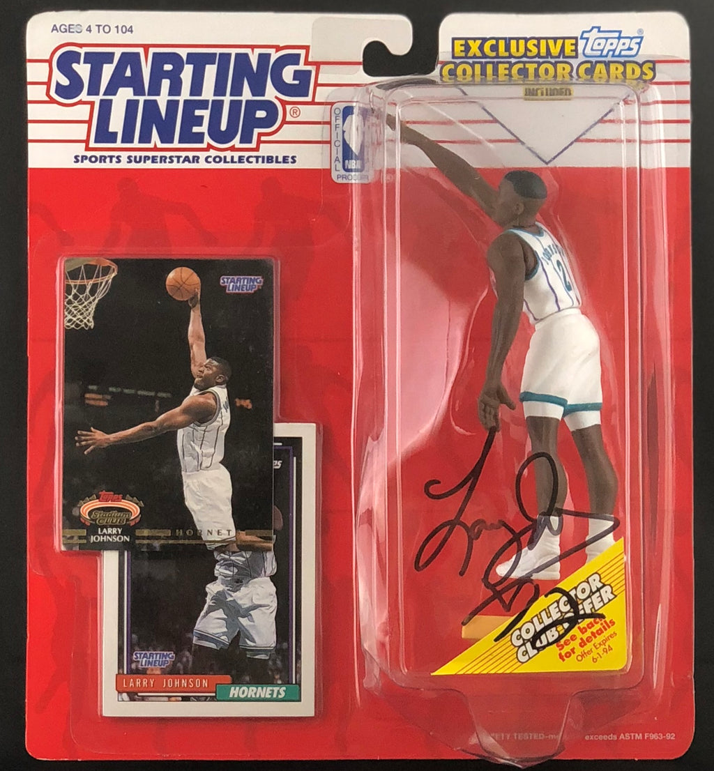 Larry Johnson autographed Starting Lineup NBA Charlotte Hornets PSA COA