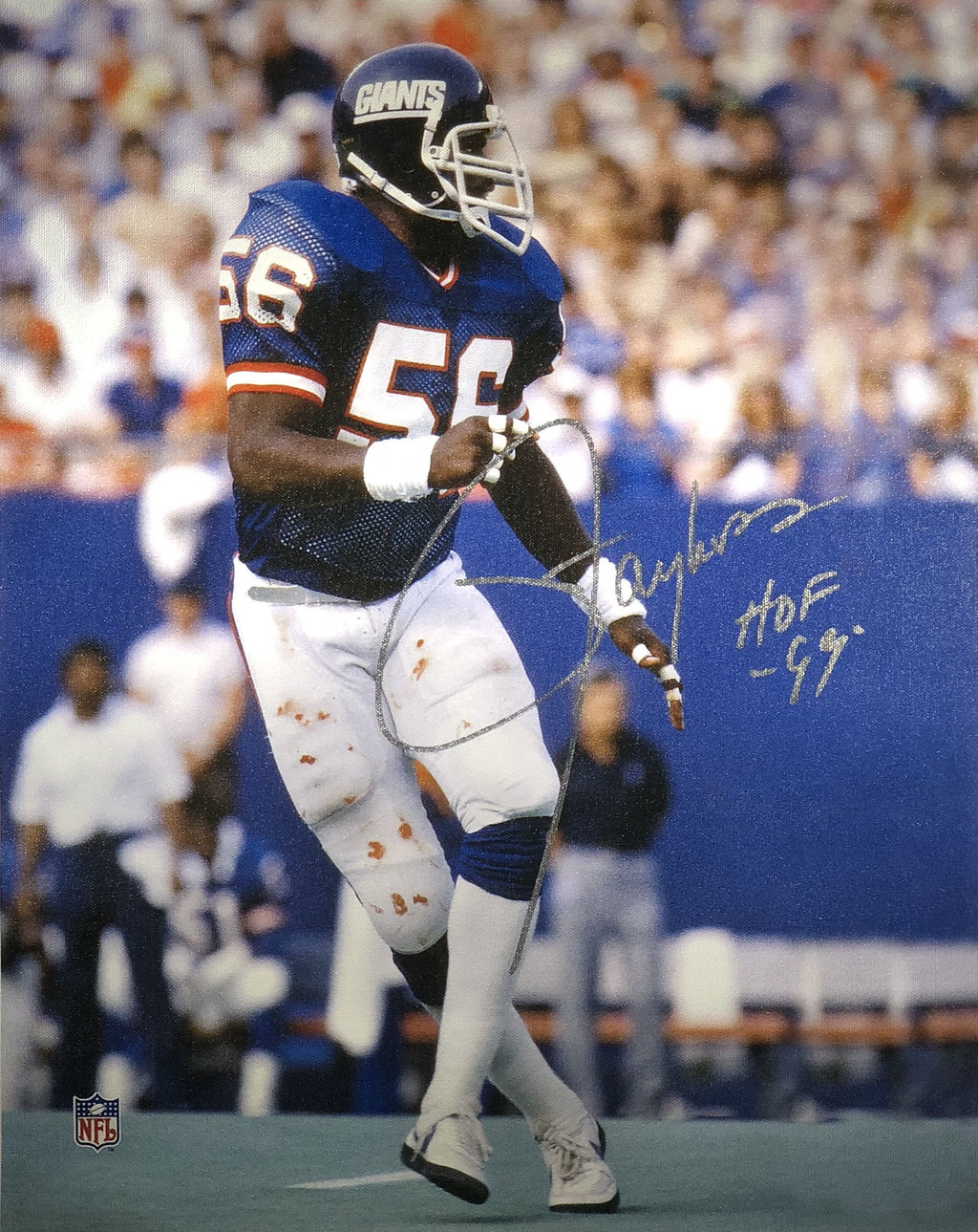 Lawrence Taylor autographed inscribed canvas 16x20 New York Giants COA - JAG Sports Marketing