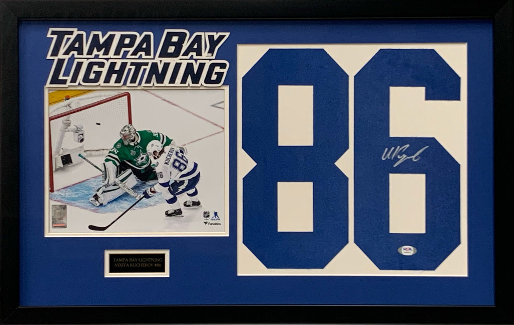 Nikita Kucherov signed jersey number framed NHL Tampa Bay Lightning PSA COA - JAG Sports Marketing