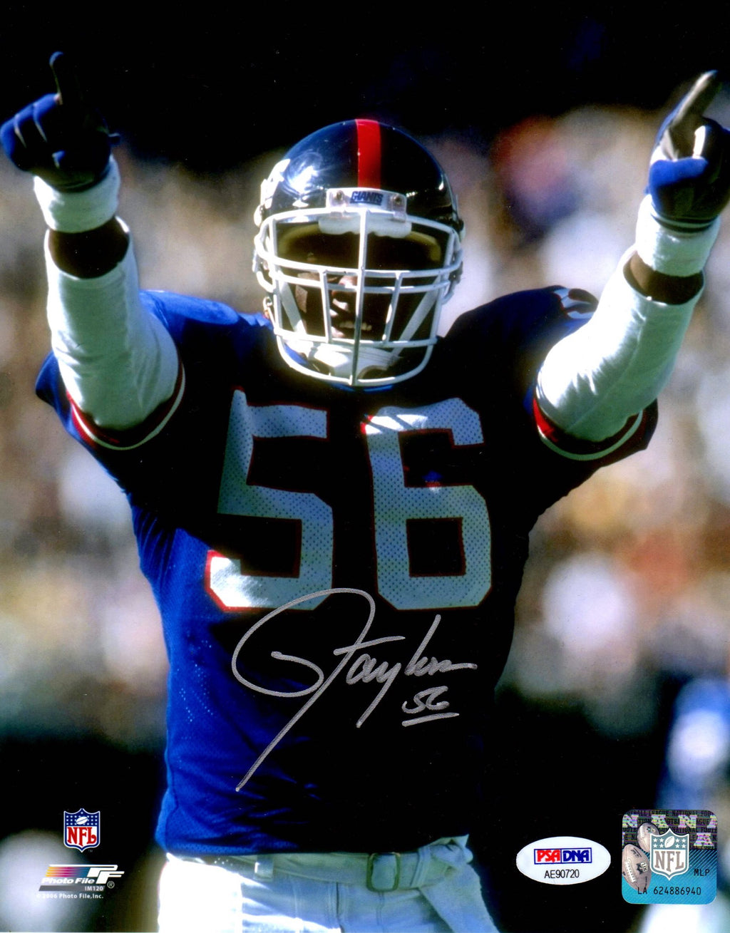 Lawrence Taylor autographed 8x10 NFL New York Giants PSA MVP Photo File