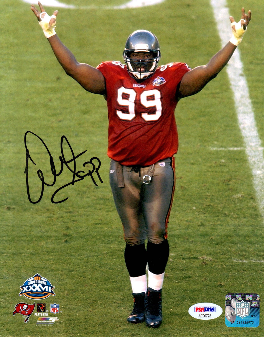 Warren Sapp autographed signed 8x10 photo NFL Tampa Bay Buccaneers PSA COA