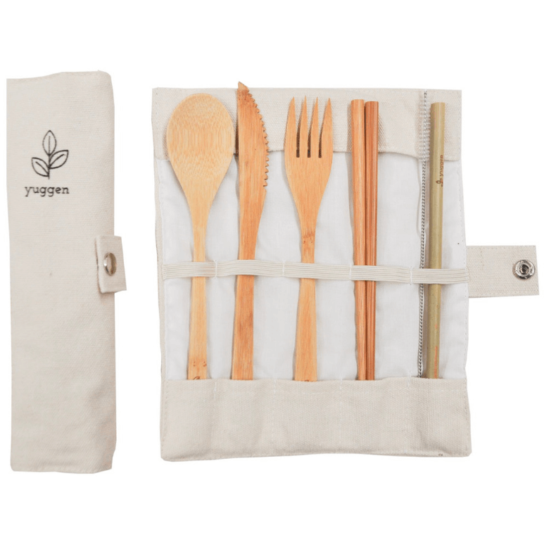 Reusable Bamboo Cutlery Set with a Cotton Cover