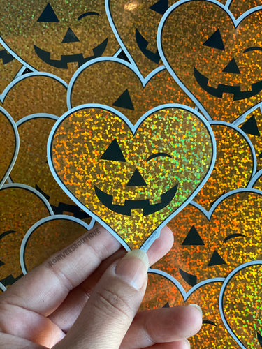 Orange Glitter Jack o'Heart Stickers