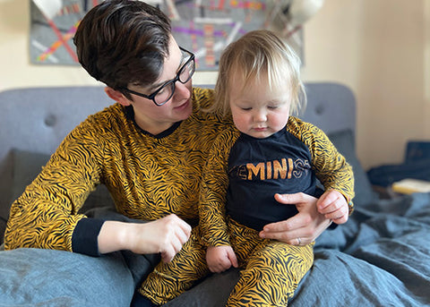 Tiger Print matching adult and child pjs