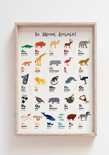 Animal Alphabet Print (Size A3)