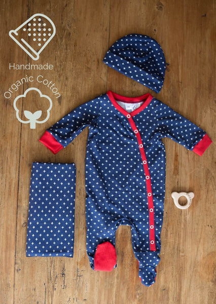 New to the Crew Footie Coverall (Indigo Cross)