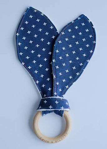 Organic Indigo Cross Bunny Wooden Ring Teether