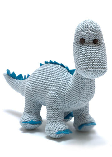 Organic Knitted Cotton Pastel Diplodocus blue