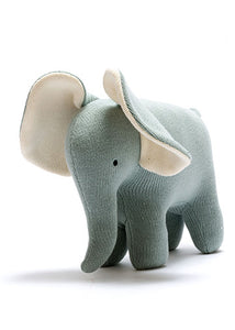Organic Knitted Elephant Large Teal