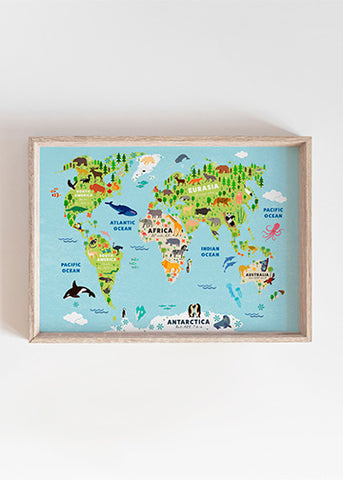 Animal World Map (Sizes A3)
