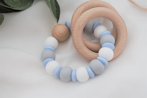 Teething Rattle - lentil blue, white, grey