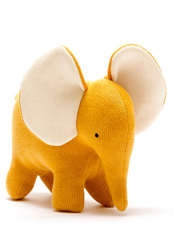 Organic Knitted Elephant Large Mustard