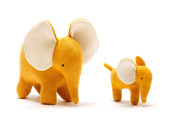Organic Knitted Elephant Small Mustard