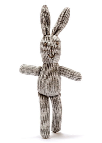Organic Knitted Bunny Rattle Grey