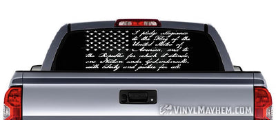 American Flag with Pledge of Allegiance vinyl sticker