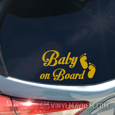 Baby on Board with foot prints vinyl sticker