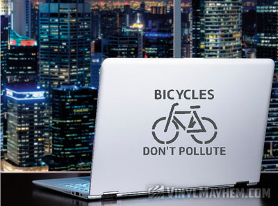 Bicycles Don't Pollute vinyl sticker