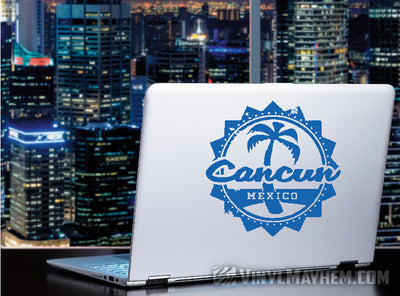Cancun Mexico palm tree vinyl sticker