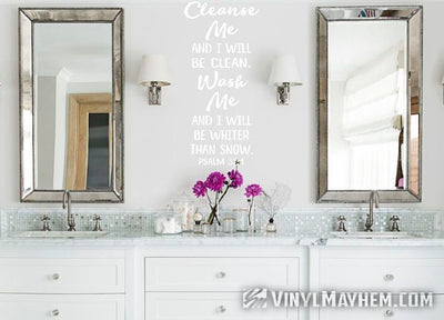 Cleanse me and I will be clean, Wash me and I will be whiter than snow vinyl sticker